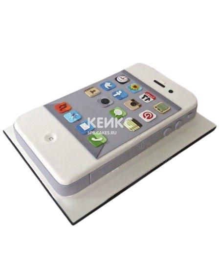 Белый торт в форме айфона