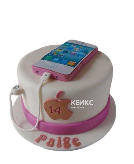 Бело-розовый торт айфон
