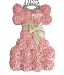 Торт из капкейков розовое платье