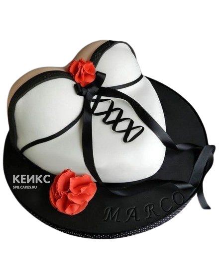 Торт в виде женской груди в черно-белом белье