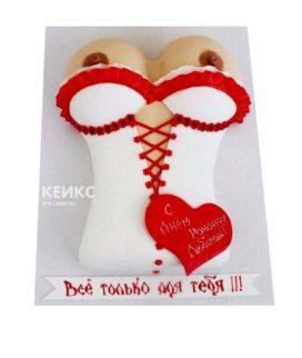 Торт в виде женской груди в бело-красном белье