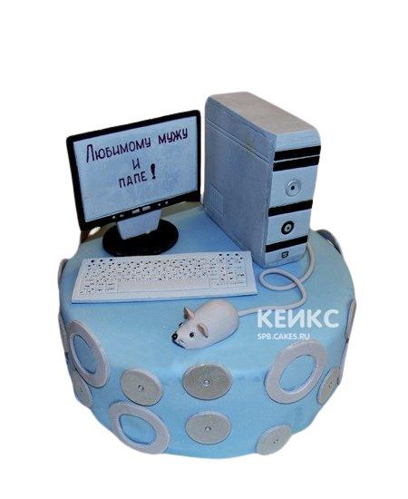 Торт голубого цвета с фигуркой компьютера