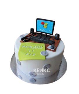 Торт с фигуркой компьютера