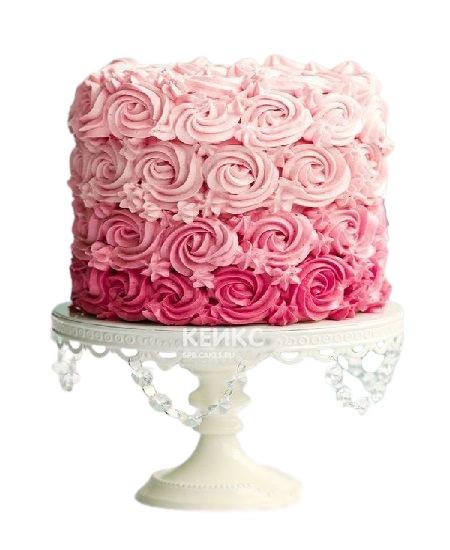 Розовый торт омбре украшенный кремовыми розами для мамы