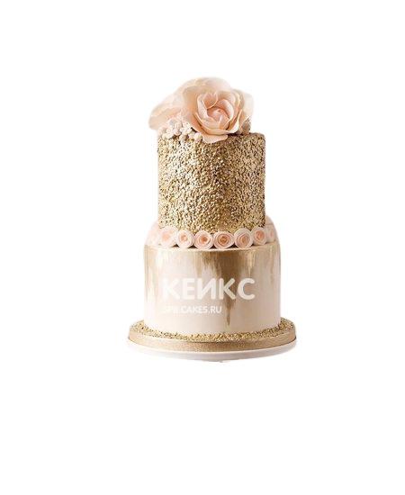 Золотой торт с цветами маме
