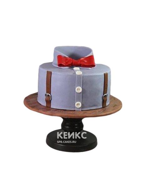 Торт с красным галстуком-бабочкой на юбилей мужчине 25 лет