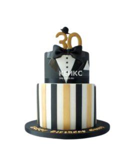 Торт в виде черного смокинга на юбилей мужчине 30 лет