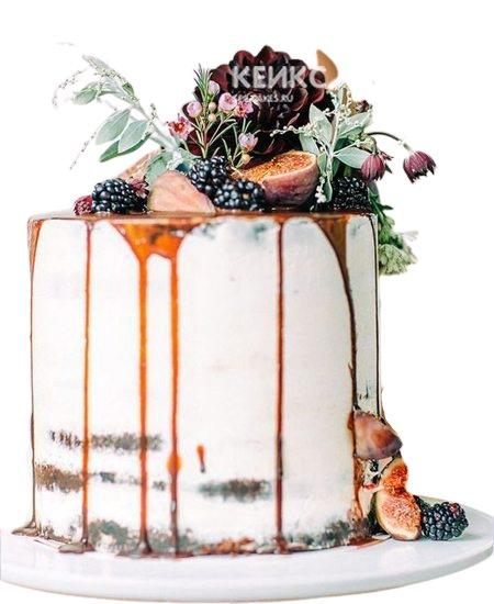 Торт с фруктами и цветами на юбилей мужчине 40 лет