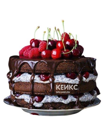 Шоколадный торт с глазурью и вишней для мужа