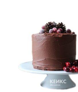 Шоколадный торт с ягодами и шишками для мужа