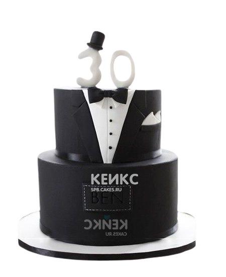 Черно-белый торт для мужа смокинг