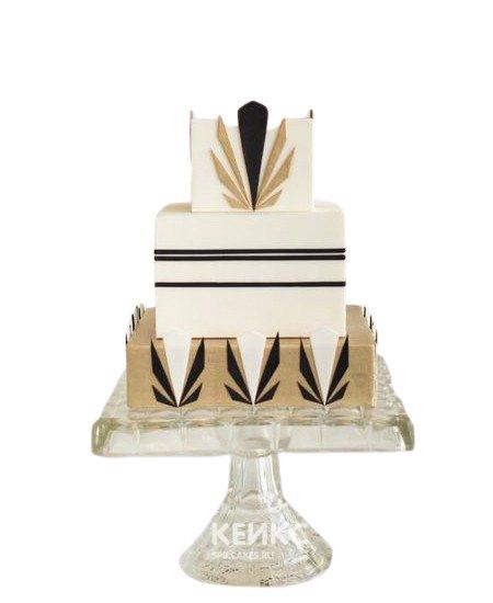 Строгий квадратный торт на корпоратив в бежевых тонах