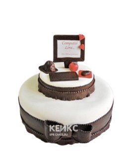 Торт Ноутбук с шоколадными боками и бантом
