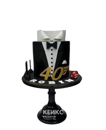 Торт папе в виде черного костюма