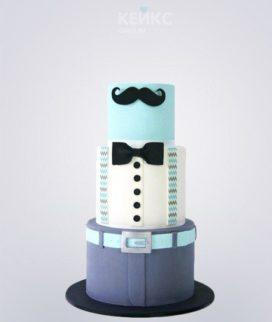 Торт папе с усами и галстуком-бабочкой