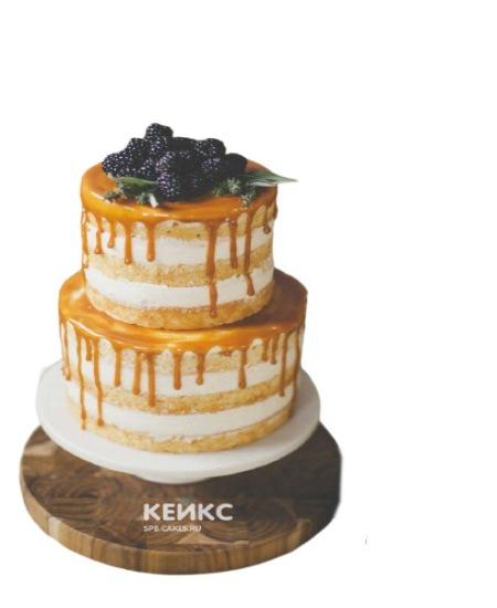 Голый торт парню с глазурью и ежевикой