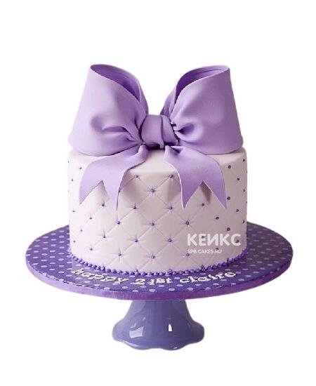 Бело-фиолетовый торт с большим бантом для подруги