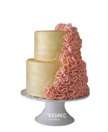 Желто-оранжевый торт с рюшами для подруги