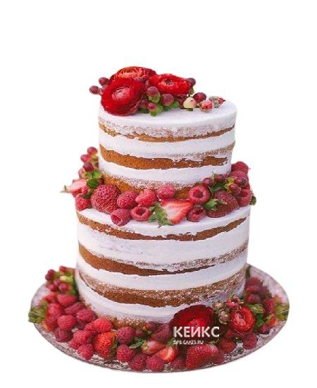 Двухъярусный голый торт со свежими ягодами малины и клубники