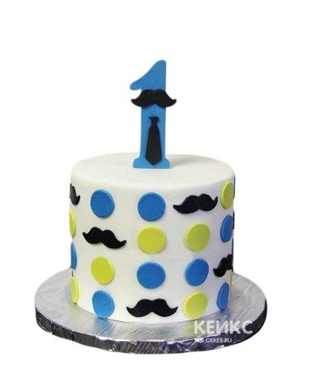 Белый торт в горошек с цифрой и усами для сына