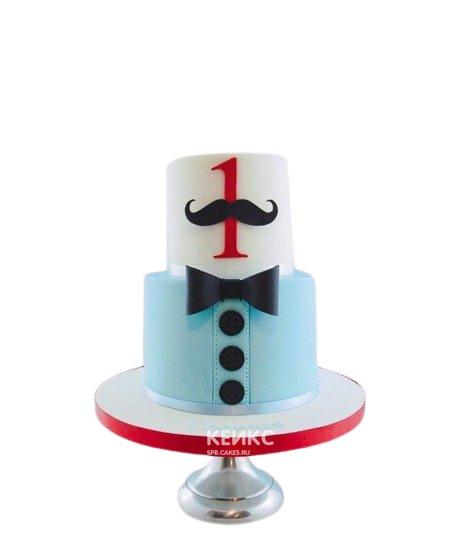 Бело-голубой торт с галстуком бабочкой и усами для сына