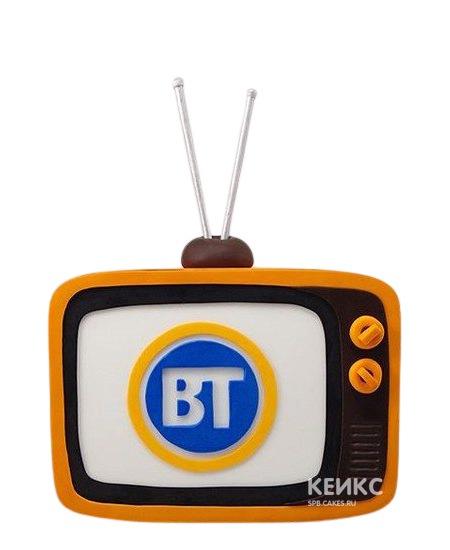 Торт в виде желтого телевизора с антенной