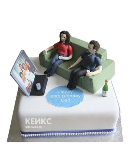 Торт в виде телевизора и дивана