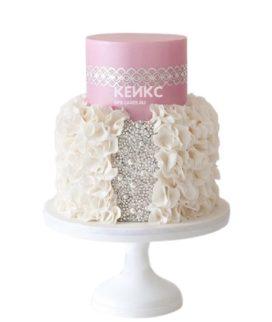 Бело-розовый торт с рюшами и стразами для женщины на юбилей 25 лет