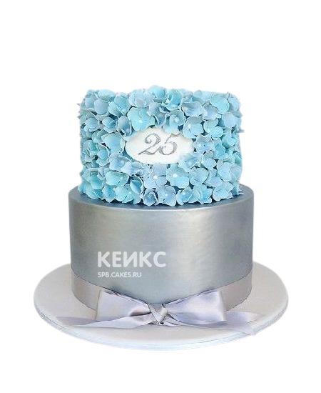 Торт с голубыми цветочками на юбилей девушке 25 лет