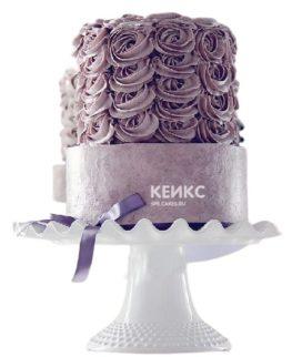 Фиолетовый торт с кремовыми розами для женщины на юбилей 25 лет
