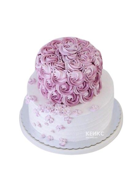 Бело-сиреневый торт с цветами на юбилей девушке 25 лет