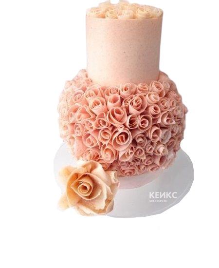 Розовый торт с цветами на юбилей девушке 25 лет