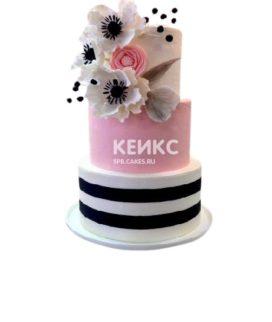 Торт в розовых тонах с цветами на юбилей девушке 25 лет