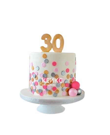 Торт с разноцветными шариками на юбилей девушке 30 лет