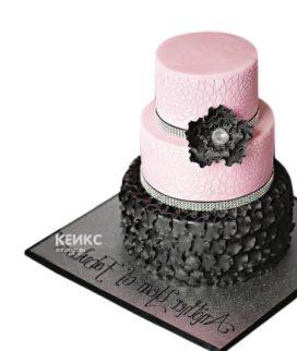 Черно-розовый торт с цветком и стразами для женщины на юбилей 30 лет