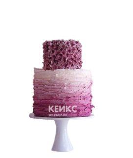 Двухъярусный лиловый торт омбре для женщины на юбилей 30 лет