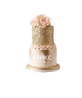 Блестящий двухъярусный торт с розами женщине на юбилей 30 лет