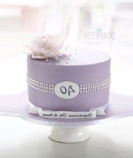 Торт сиреневого цвета на юбилей женщине 40 лет