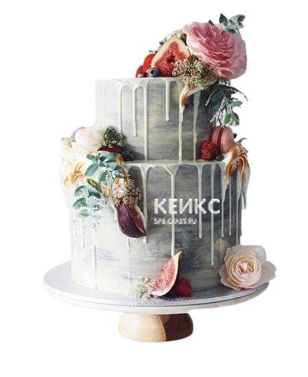 Шикарный дымчатый торт Женщине на юбилей 40 лет с глазурью и живыми цветами
