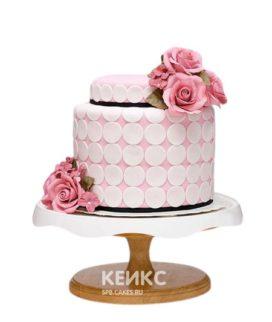 Торт на юбилей женщине 40 лет с розовыми цветами