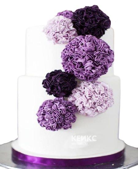 Торт в сиреневых тонах на юбилей женщине 50 лет