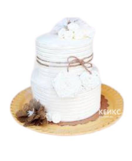 Торт с белыми цветами на юбилей женщине 50 лет