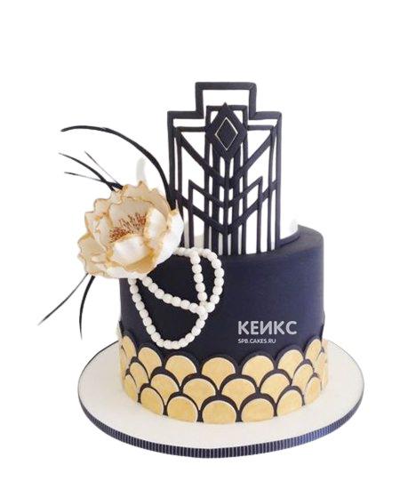 Экстравагантный темно-синий торт Женщине на юбилей 55 лет
