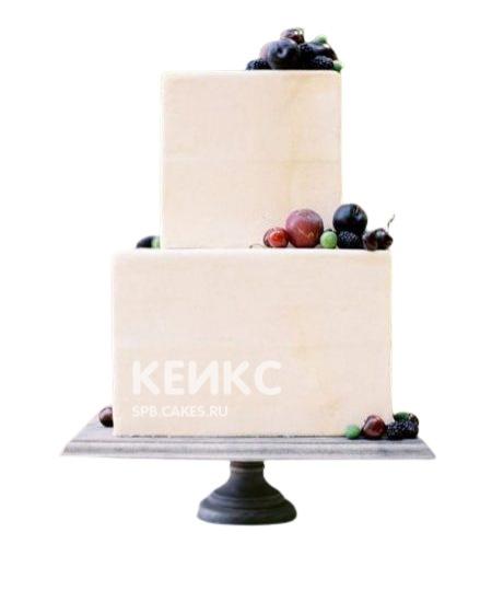 Торт на юбилей женщине 55 лет бежевый с ягодами