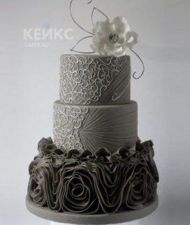 Торт на юбилей женщине 55 лет темный с цветком