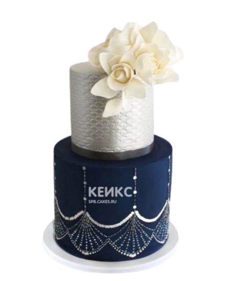 Синий торт с цветами на юбилей женщине 55 лет