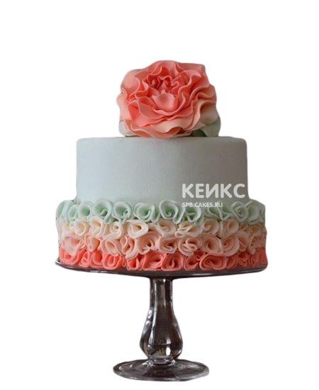 Торт на юбилей женщине 55 лет с большим красным цветком