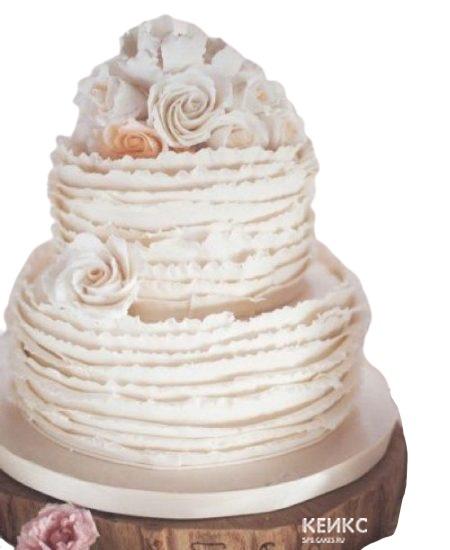 Двухъярусный торт с оборками и цветами для женщины на юбилей 55 лет