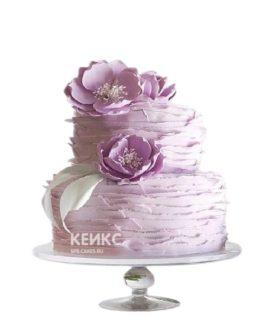 Торт на юбилей женщине 60 лет в сиреневом цвете