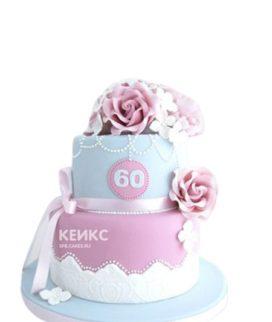Торт с кремовыми цветами на юбилей женщине 60 лет